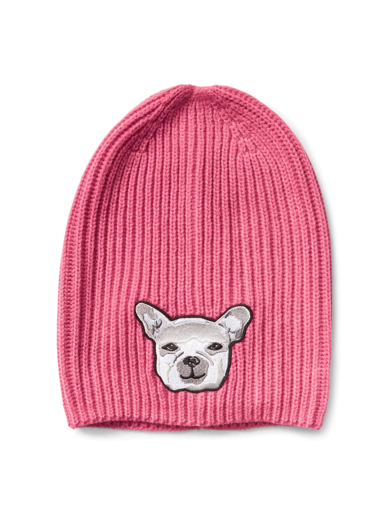 Animal graphic beanie - pink dog - PitaPats.com
