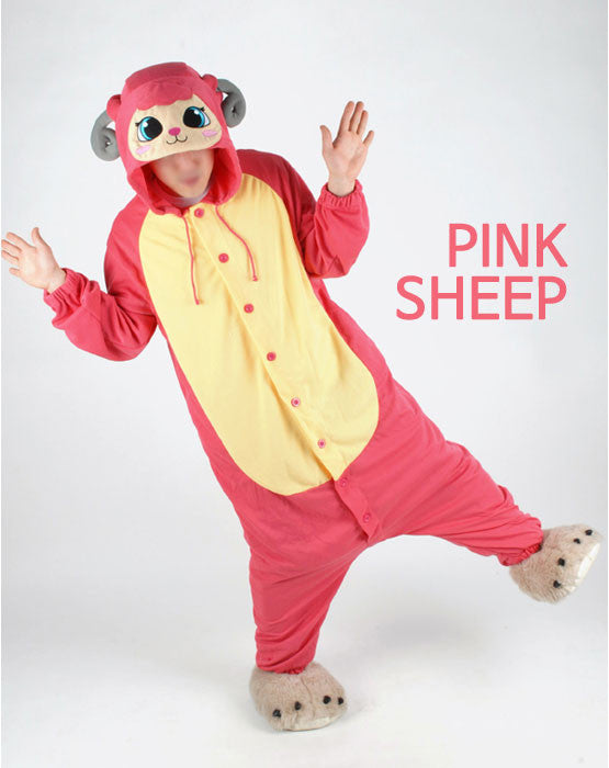 PITaPATs kids onesie animal jumpsuit costume - long sleeve pink sheep - PitaPats.com