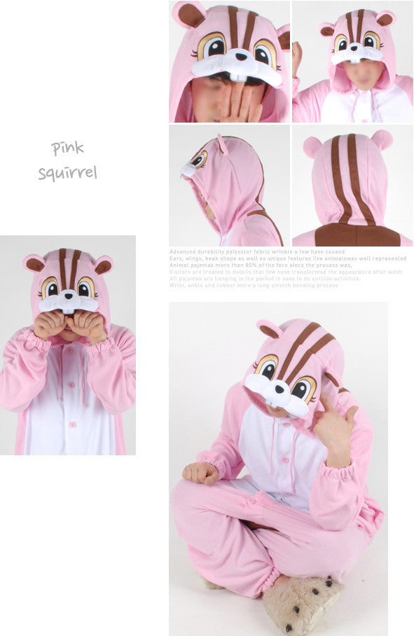 PITaPATs onesie animal jumpsuit costume - long sleeve pink Squirrel