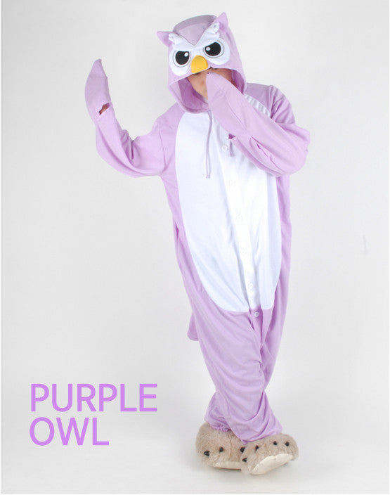 PITaPATs onesie animal jumpsuit costume - long sleeve purple owl