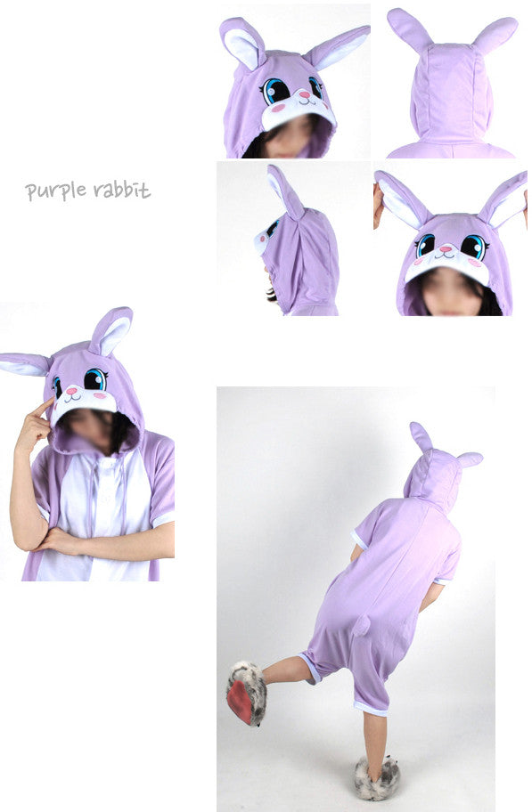 PITaPATs onesie animal jumpsuit costume - short sleeve purple rabbit