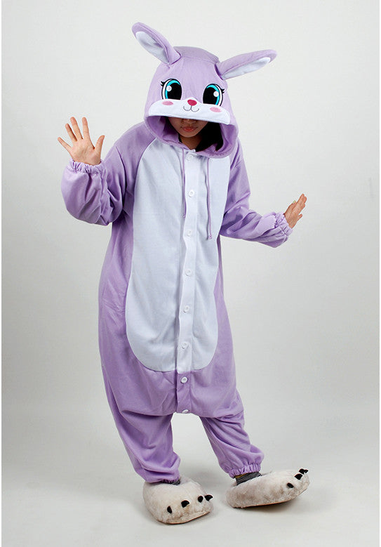 PITaPATs onesie animal jumpsuit costume - long sleeve purple rabbit