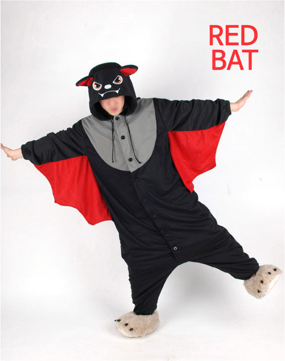 PITaPATs kids onesie animal jumpsuit costume - long sleeve red bat - PitaPats.com