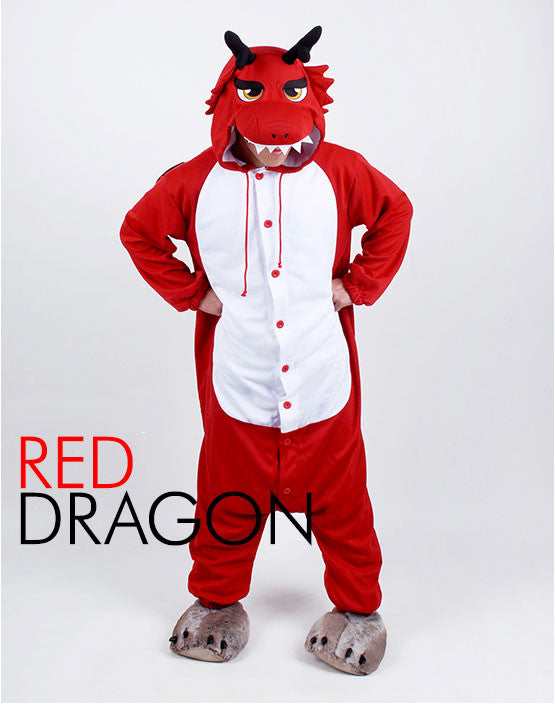 PITaPATs kids onesie animal jumpsuit costume - long sleeve red dragon - PitaPats.com