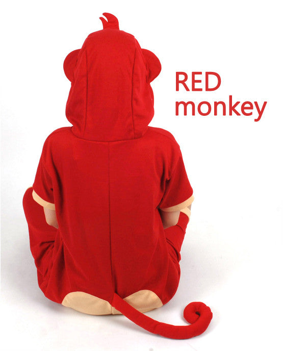 PITaPATs onesie animal jumpsuit costume - short sleeve red monkey