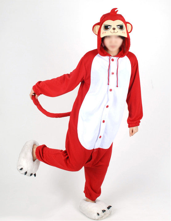 PITaPATs onesie animal jumpsuit costume - long sleeve red monkey