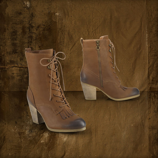 Ralph Rauren - Mesa Leather Lace-Up Bootie Brown - PitaPats.com