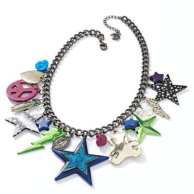 Princess Vera Wang Two Tone Simulated Crystal Teddy Bear & Star Charm Bib Necklace - PitaPats.com