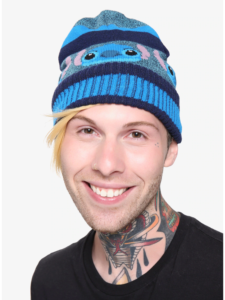 DISNEY LILO & STITCH BLUE STRIPED STITCH BEANIE