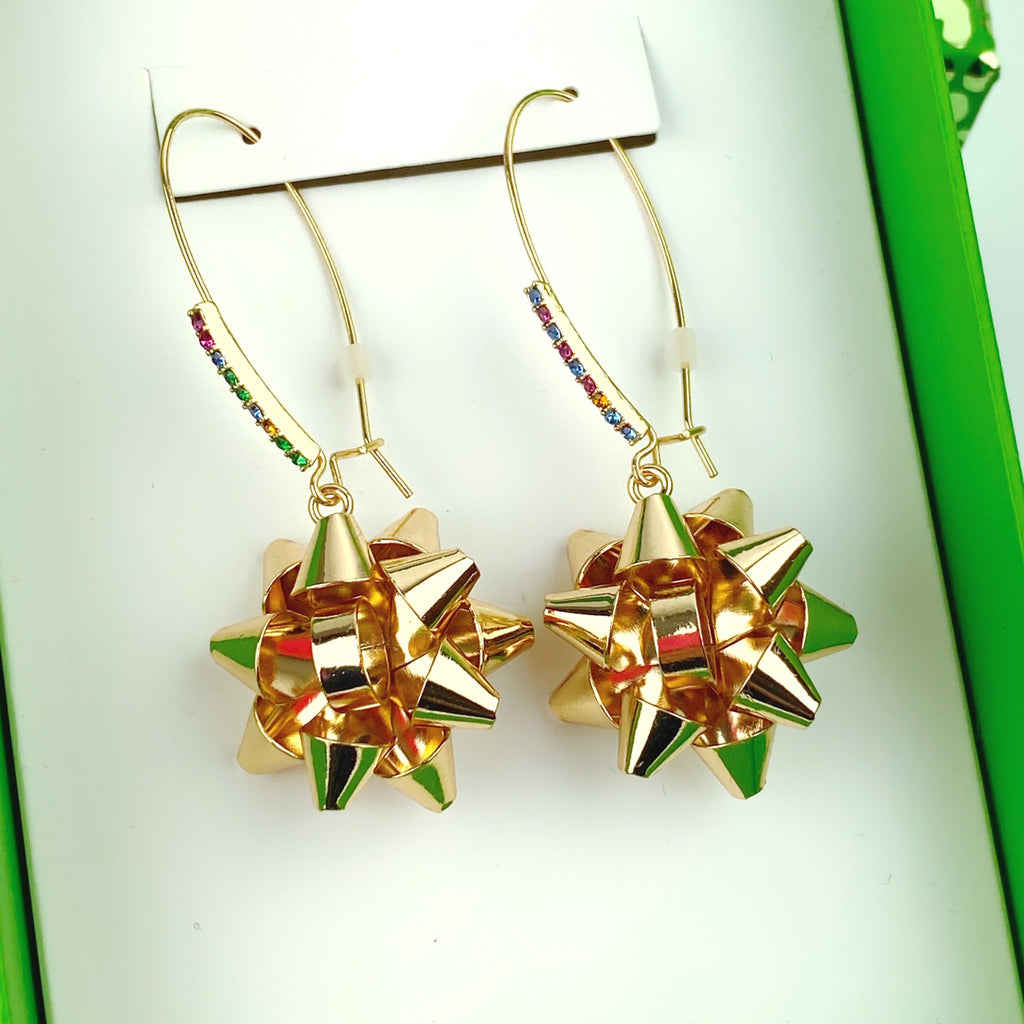 Betsey Johnson Gold Tone Holiday Wrap Me Up Bow Dangle Earrings