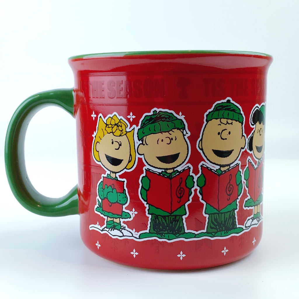 Peanuts Charlie Brown & Friends Christmas Caroling Red Ceramic Mug 21 oz