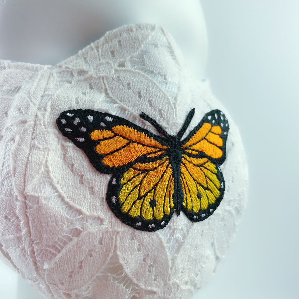 Face Mask 4 Protect Monarch Butterfly White Lace 3D - L
