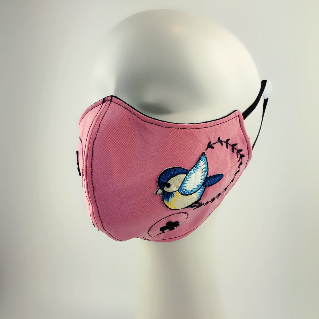Mask 4 Protect 2 Blue birds Dusty Rose Face Mask