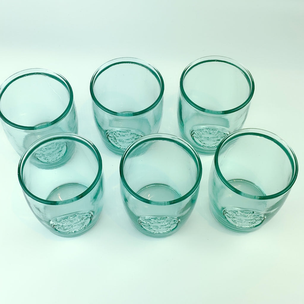 Authentic San Miguel Drinking Glasses 100% Recycled Glass Short Cups - Set of 6 (16 oz)
