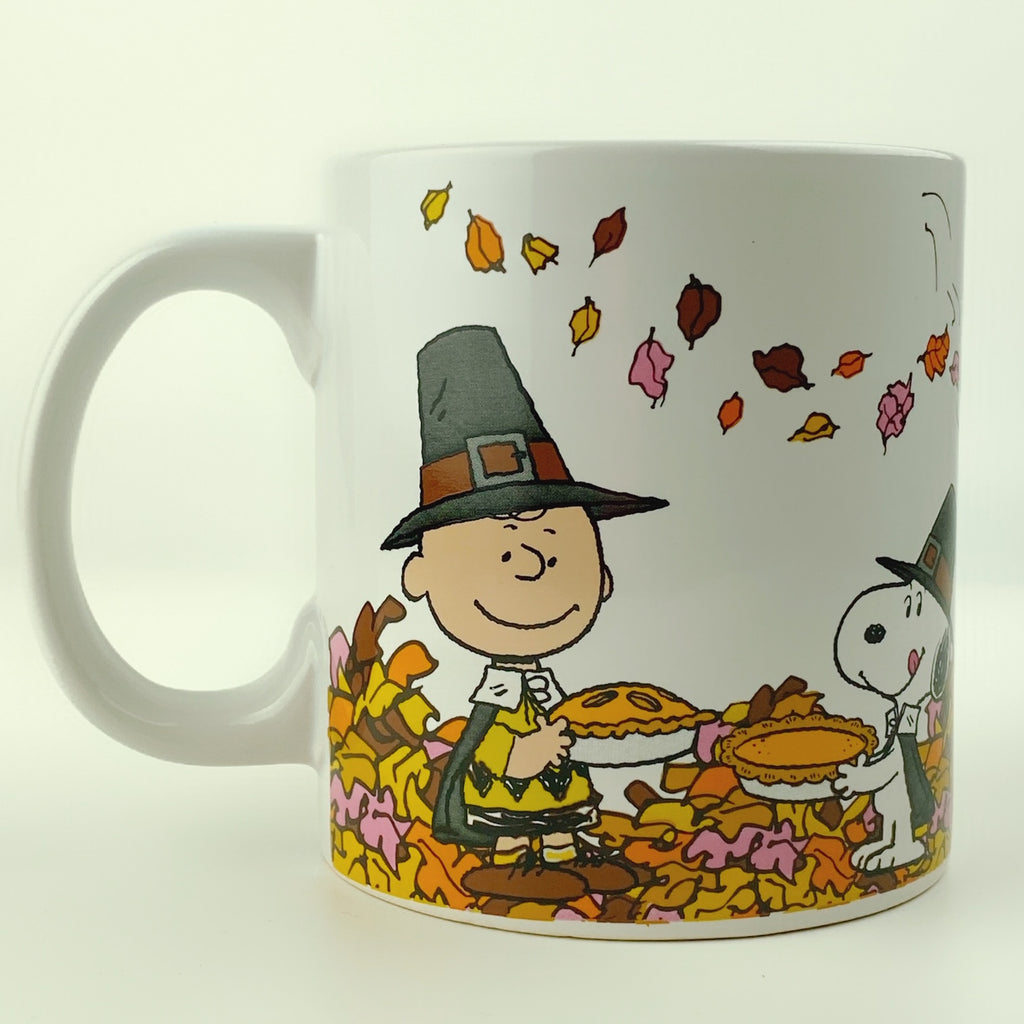 Large Peanuts Charlie Brown Snoopy & Friends Happy Thanksgiving Coffee Mug 20 oz