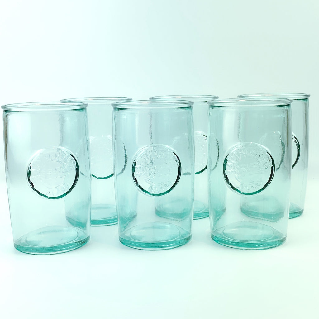 Authentic San Miguel Drinking Glasses 100% Recycled Glass Long Cups - Set of 6 (14 oz)