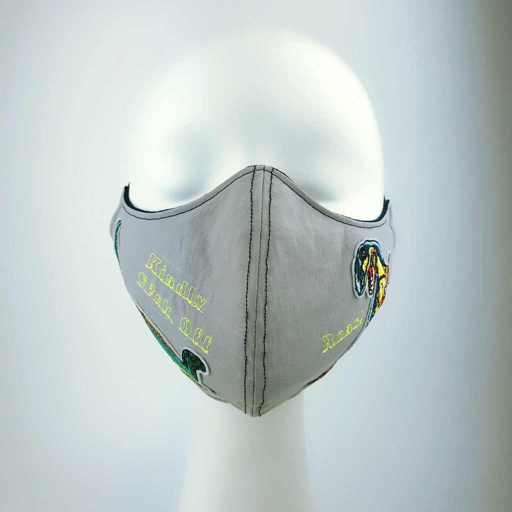 Mask 4 Protect Fierce Dinosaur Grey Face Mask