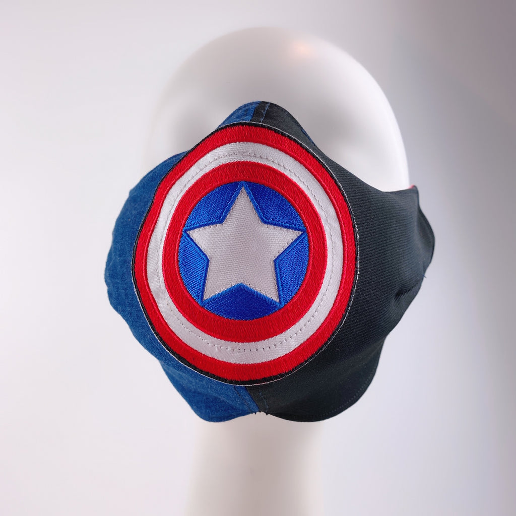 Mask 4 Protect Face Mask Captain America Contrast Denim & Black