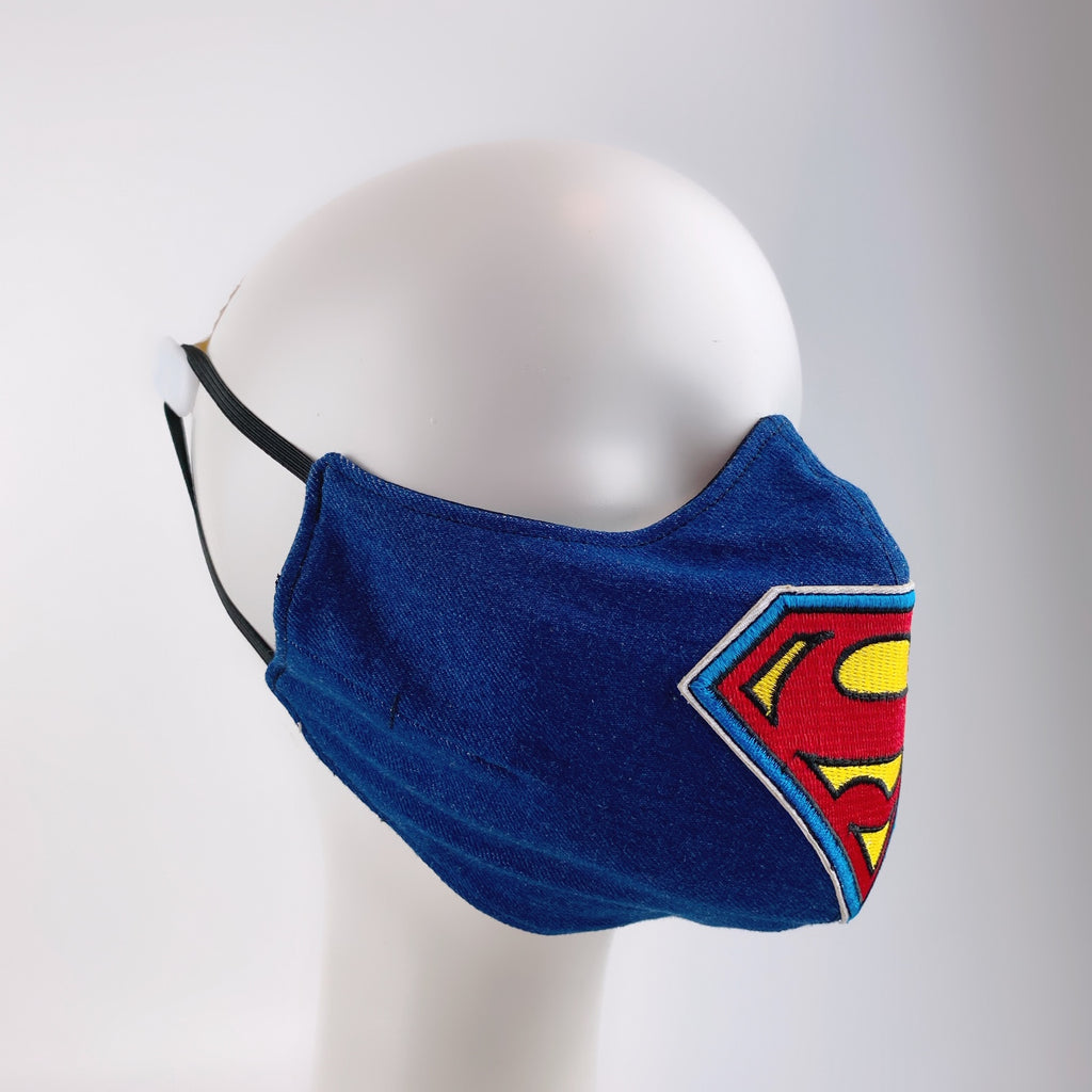 Mask 4 Protect Face Mask Superman Insignia Denim
