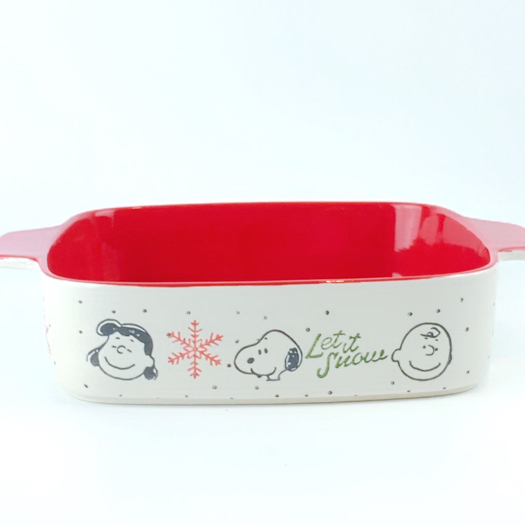 Peanuts Charlie Brown & Friends & Snoopy Ceramic Let It Snow Winter Square Oven Cookware