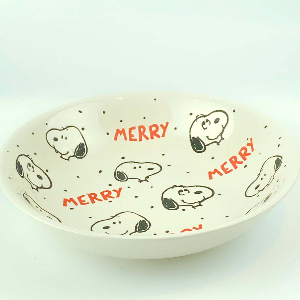 Peanuts Charlie Brown & Friends & Snoopy Dot Dot Merry Holiday Bowl 9""