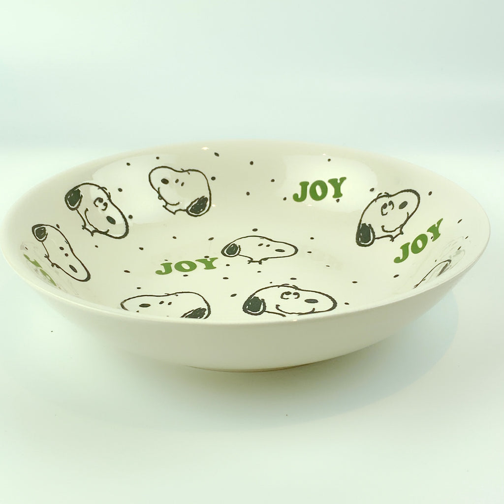 Peanuts Charlie Brown & Friends & Snoopy Dot Dot Joy Holiday Bowl 9""