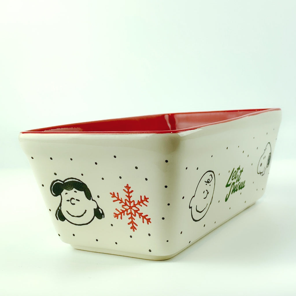 Peanuts Charlie Brown & Friends & Snoopy Ceramic Let It Snow Winter Loaf Pan
