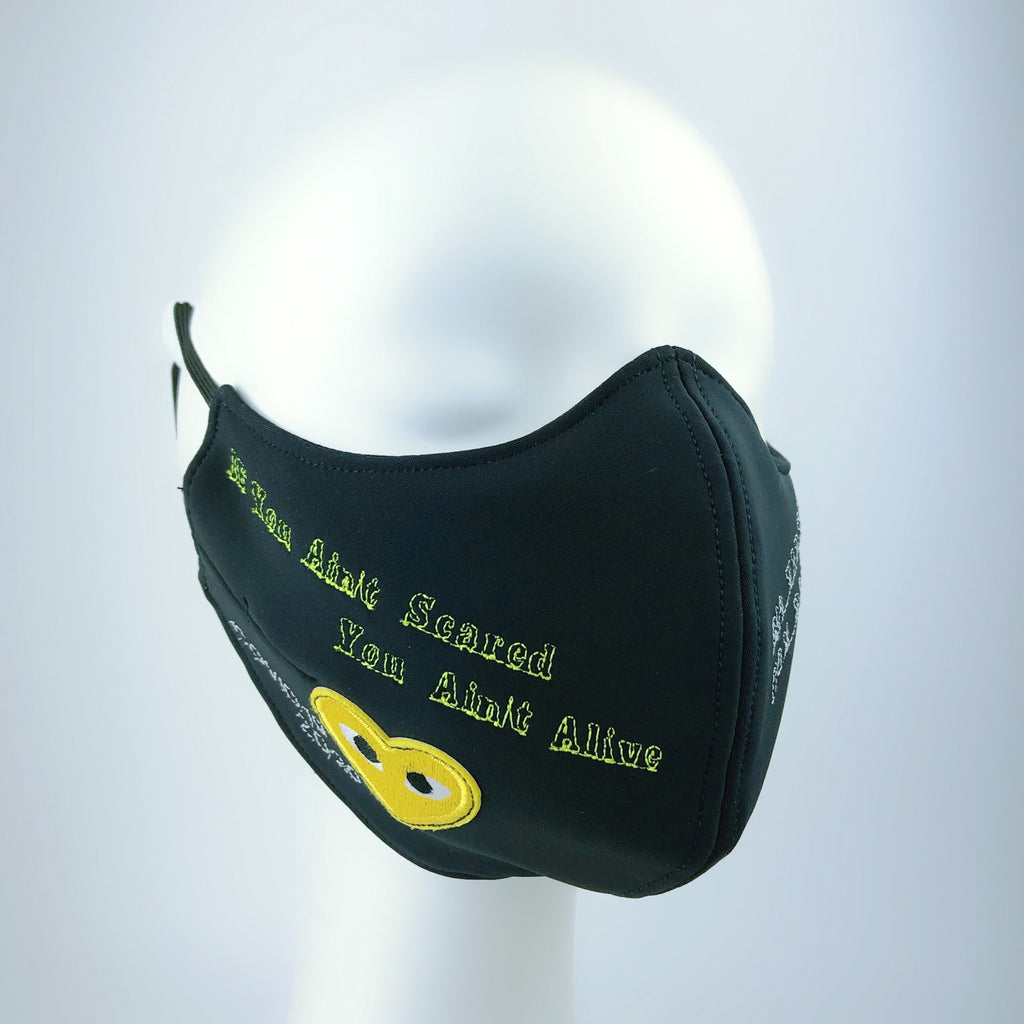 Mask 4 Protect Yellow Eyed Heart Black Face Mask