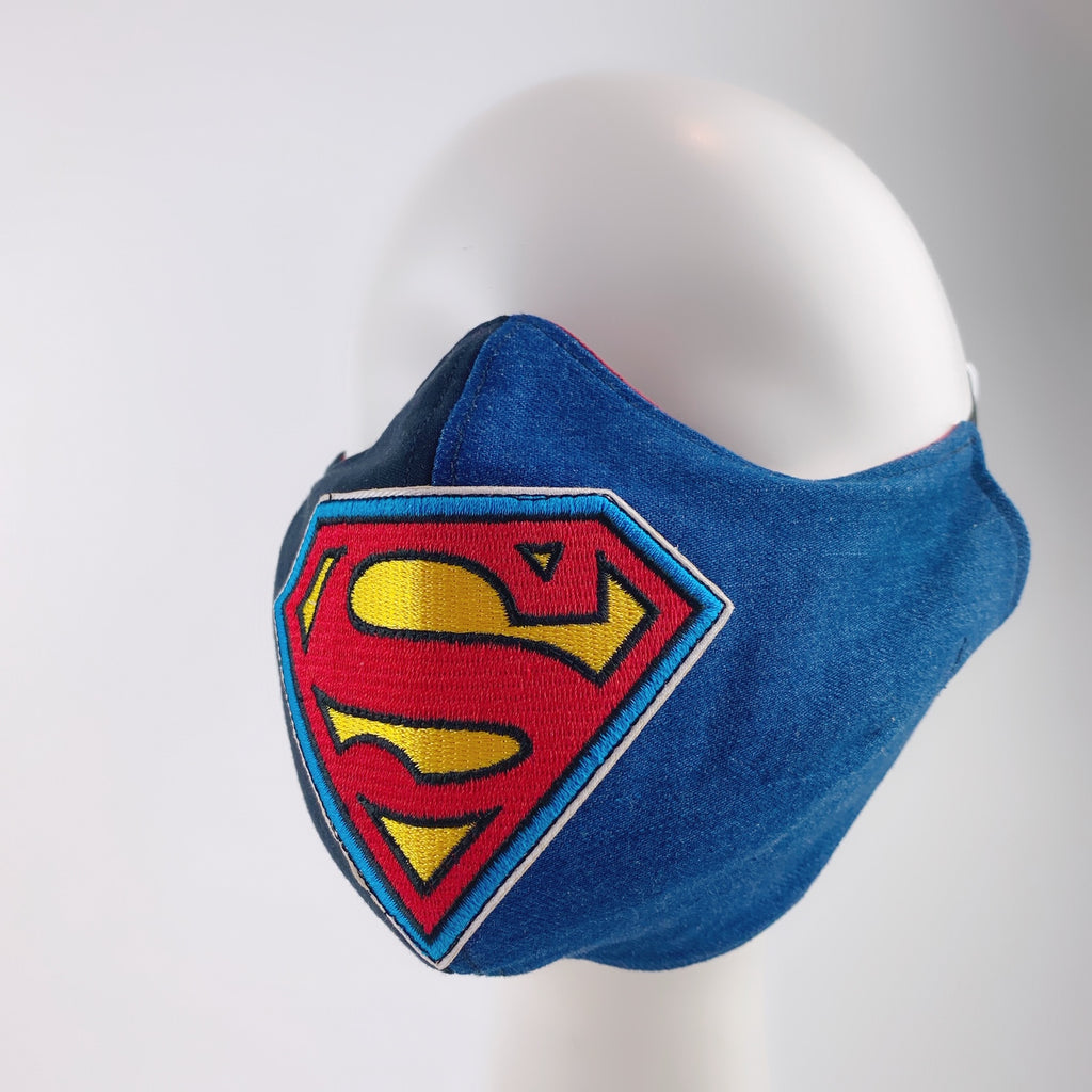 Mask 4 Protect Face Mask Superman Insignia Contrast Black & Denim