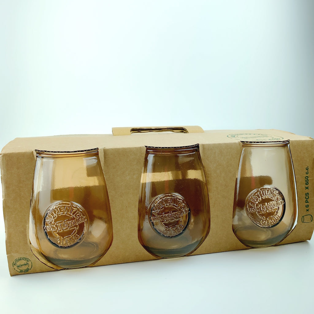 Authentic San Miguel Drinking Glasses 100% Recycled Glass - Set of 6 (Amber)
