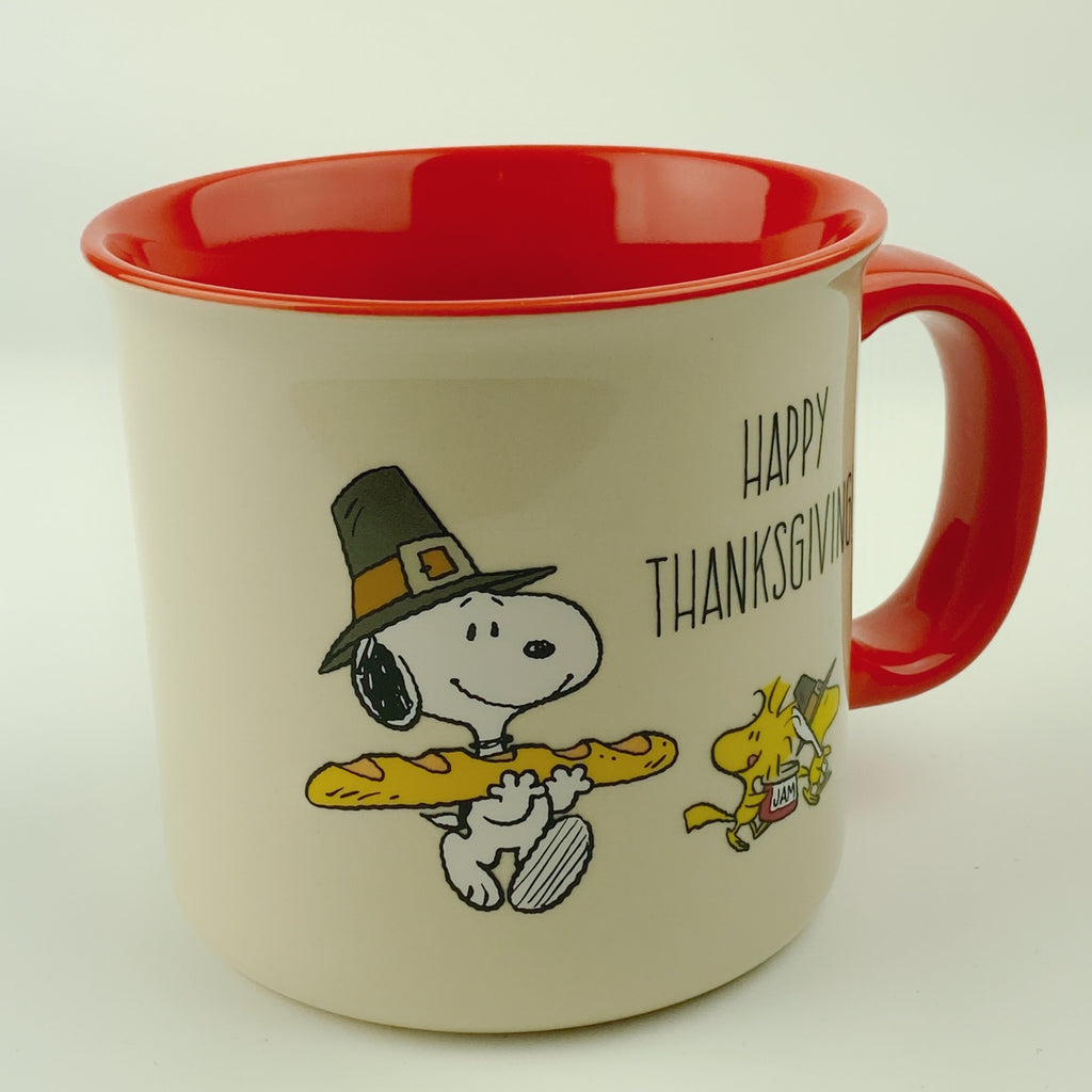 Large Peanuts Snoopy & Woodstock Thanksgiving Mug 21 oz Red