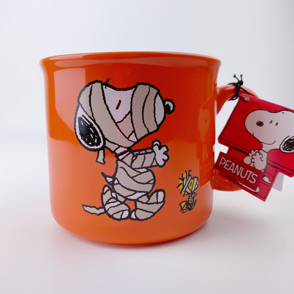 Peanuts Snoopy Mug Halloween Large 21 oz Orange, Snoopy and Woodstock Mummy