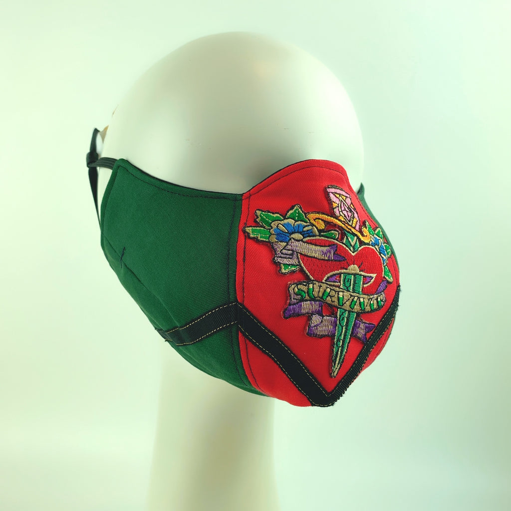 Face Mask 4 Protect Love Soul Survive Contrast Red & Green Ophidia - L
