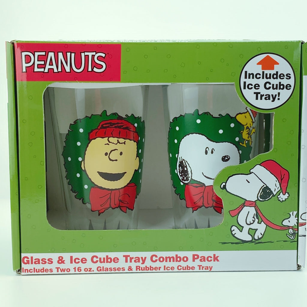 Peanuts Christmas Snoopy & Friends Drinking Glasses Collectors Series Set of Two 16oz with Ice Tray