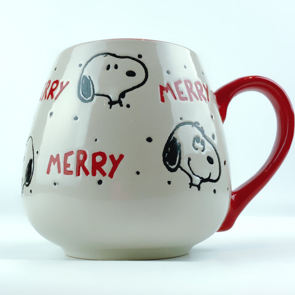 Peanuts Snoopy Merry Happy Faces Ceramic Red Mug 18 oz