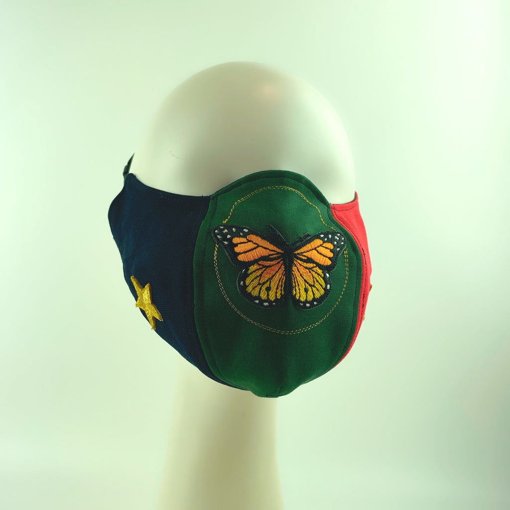 Face Mask 4 Protect Monarch Butterfly Contrast Red ,Green & Navy Ophidia - L