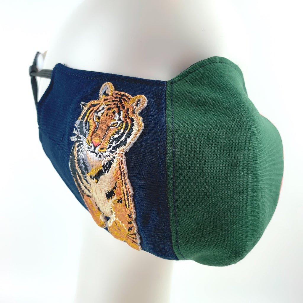 Face Mask 4 Protect Tiger Contrast Red ,Green & Navy Ophidia - L