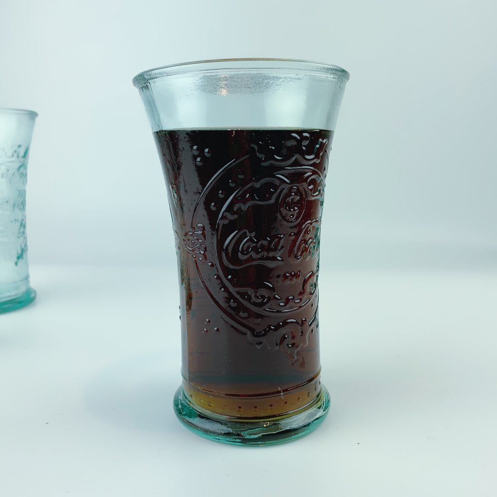 Coca-Cola Authentic Drinking Glasses 100% Recycled Glass - Set of 3 (14 oz) Made In Spain