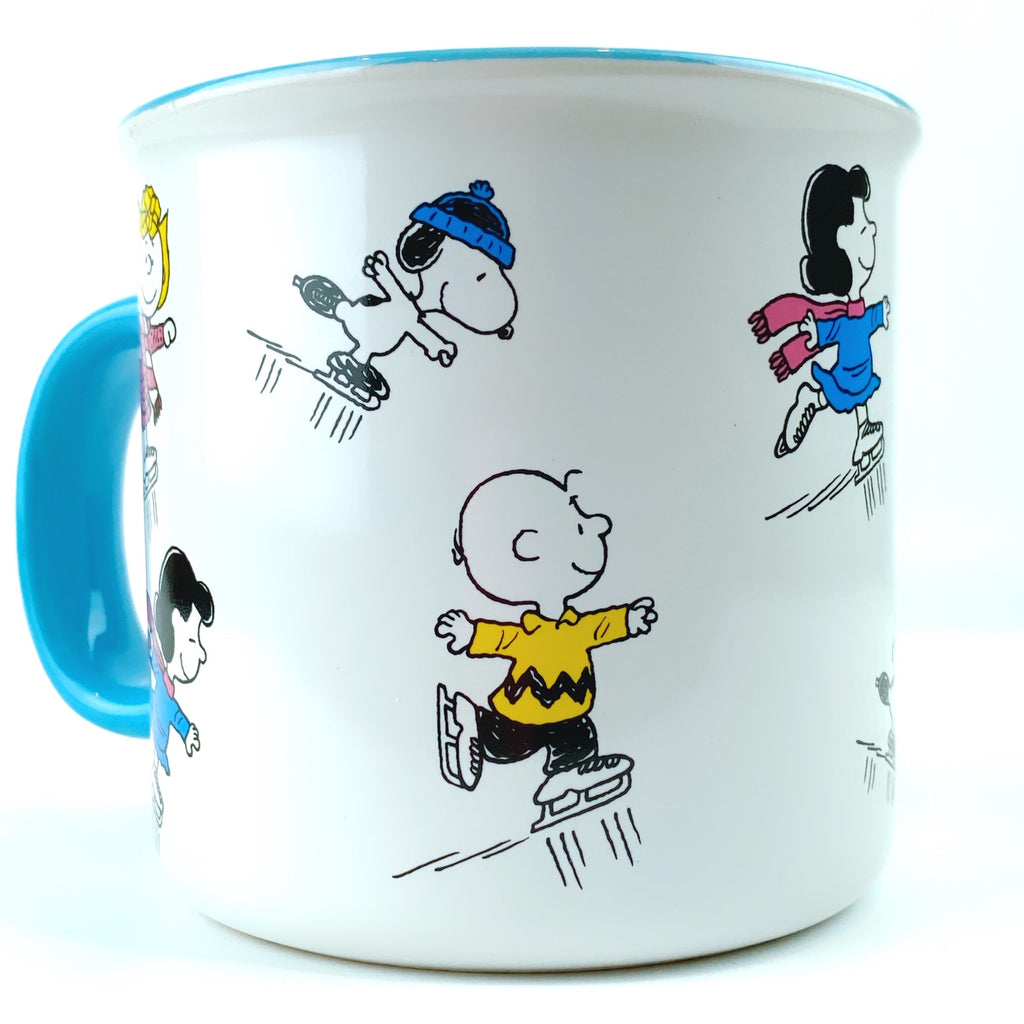 Peanuts Charlie Brown & Friends Snoopy Skating On Ice Ceramic Mug 21 oz