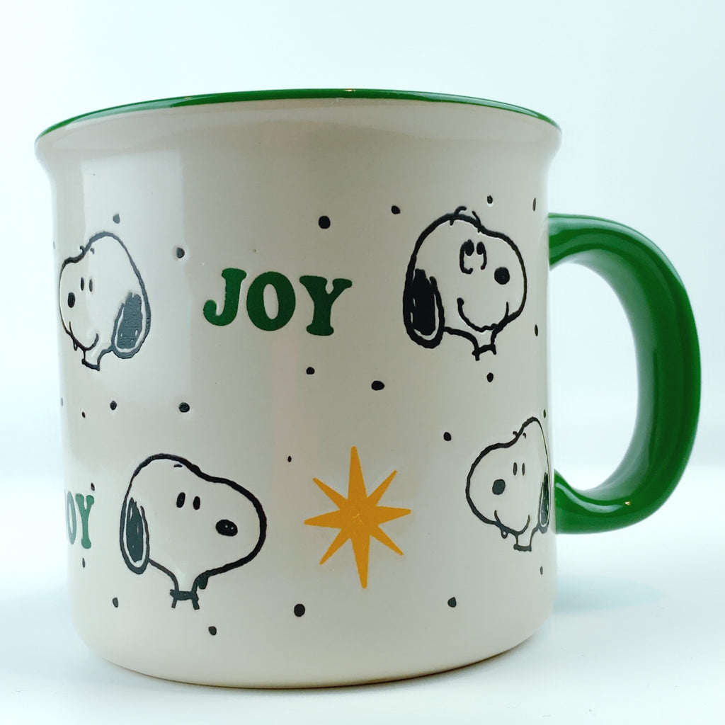 Peanuts Snoopy Joy Gold Star Green Ceramic Mug 21 oz