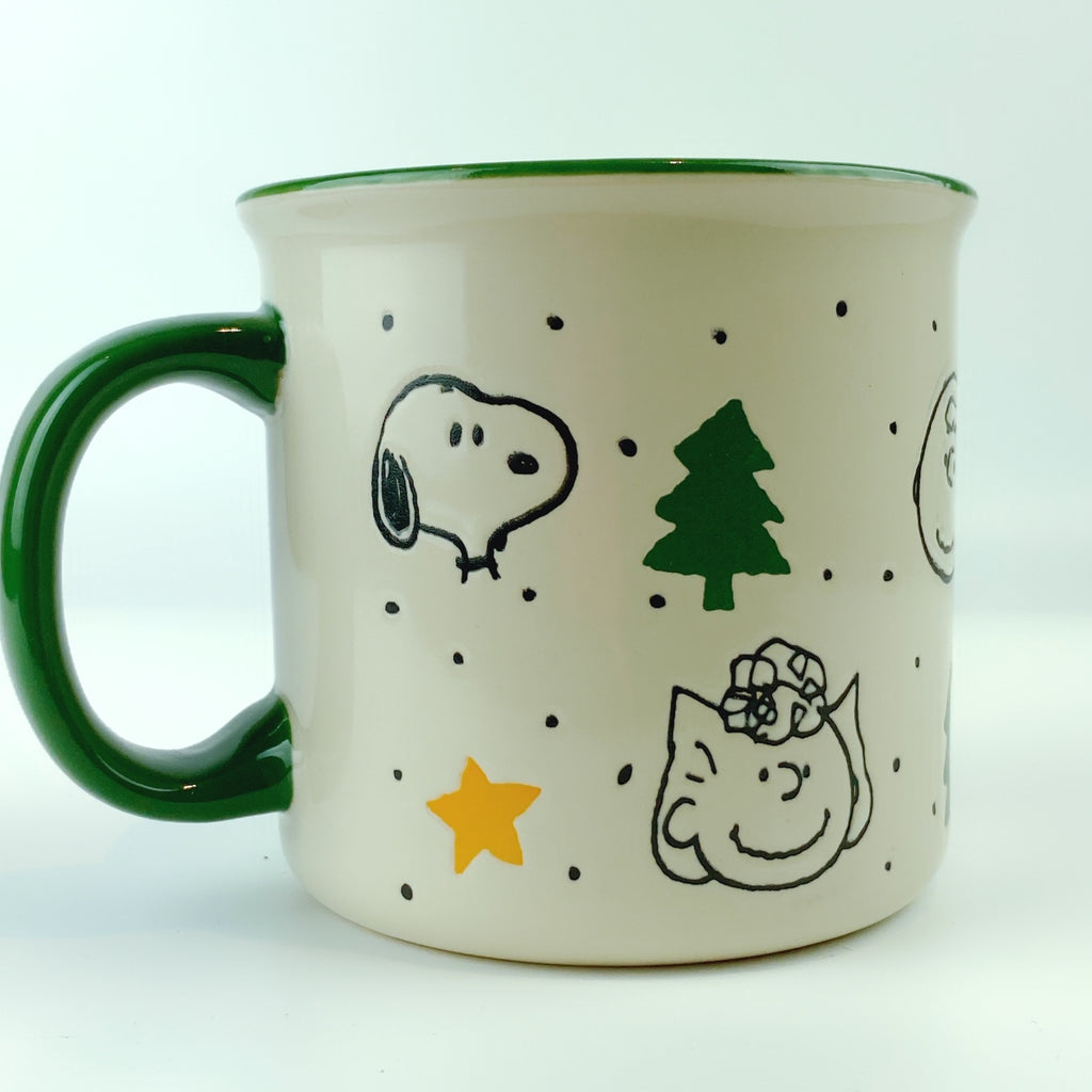 Peanuts Charlie Brown & Friends Gold Star Pine Tree Green Ceramic Mug 21 oz