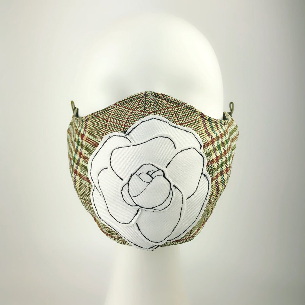 Mask 4 protect Camellia Applique Plaid Face Mask L