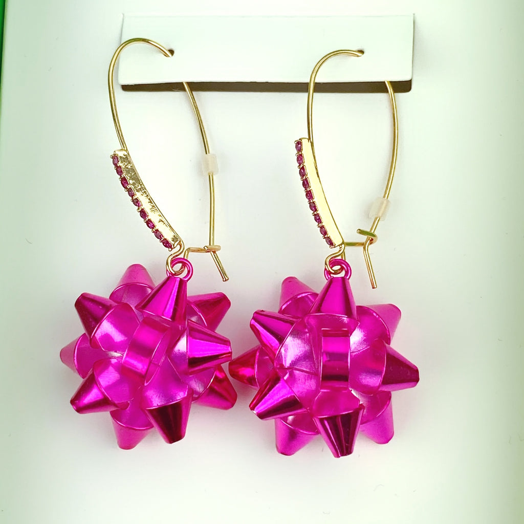 Betsey Johnson Hot Pink Holiday Wrap Me Up Bow Dangle Earrings