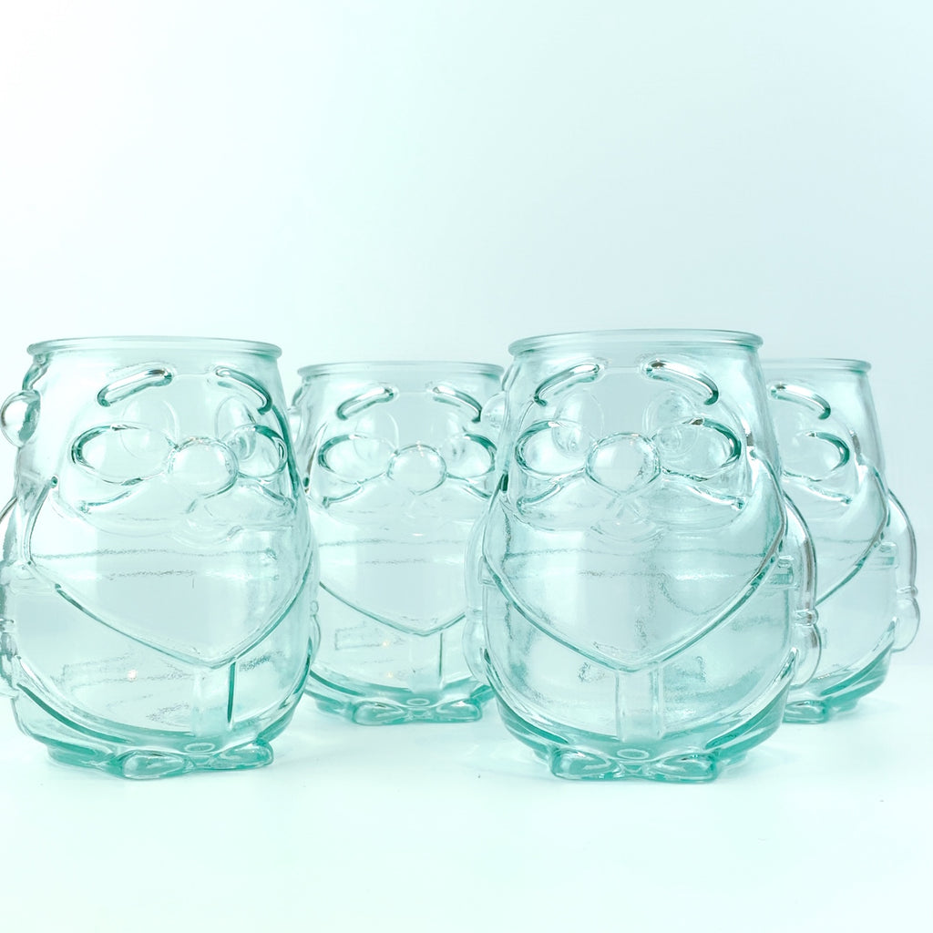 Made in Spain Holiday Santa Drinking Glasses 100% Recycled Glass - Set of 4
