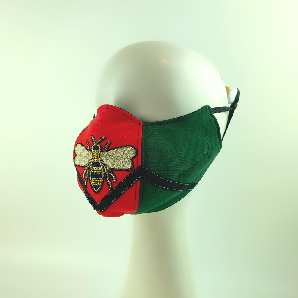 Face Mask 4 Protect Queen Bee Contrast Red And Green Ophidia -L