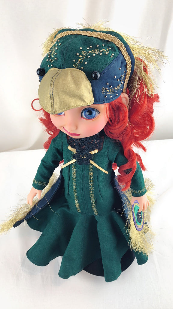 Disney animator doll repainted costum Merida *glass eyes* Peacock Princess