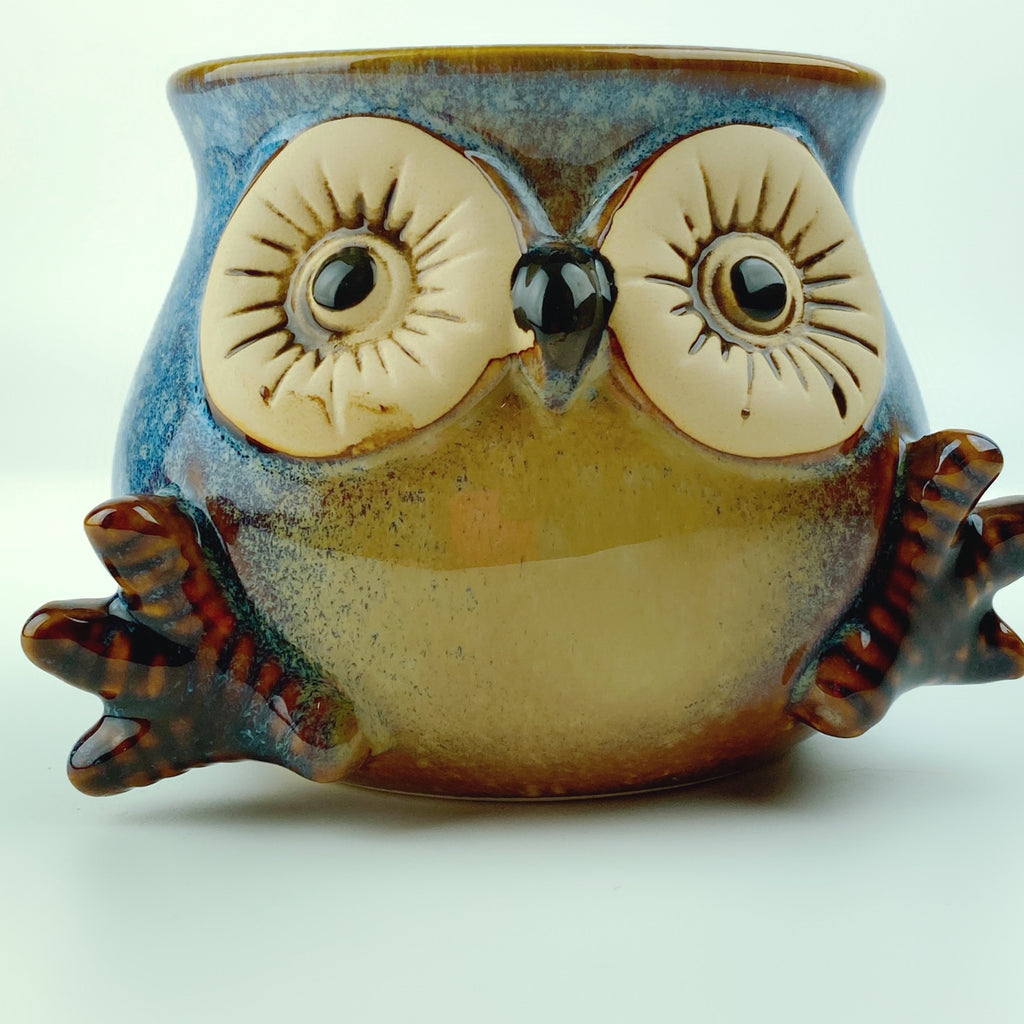 Naughty Baby Owl Porcelain Mug Cup with Feet 16 Oz