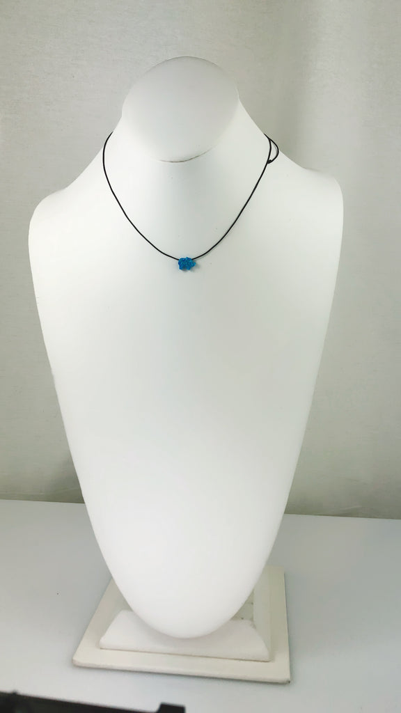 Blue /Green Moon Opal Elephant Black Cord Necklace - PitaPats.com
