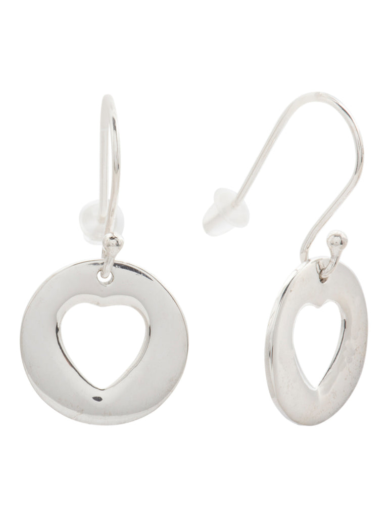 TEOCALLI Made In India Sterling Silver Heart Cutout Drop Earrings - PitaPats.com