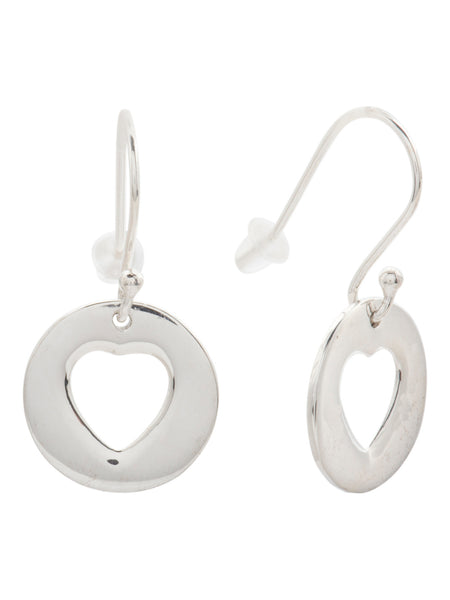TEOCALLI Made In India Sterling Silver Heart Cutout Drop Earrings